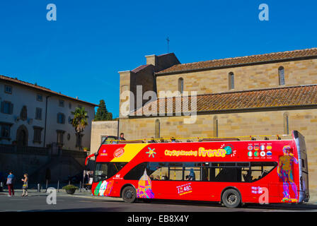 Open top tourist sightseeing tour bus, Fiesole, near Florence, Tuscany, Italy - Stock Photo