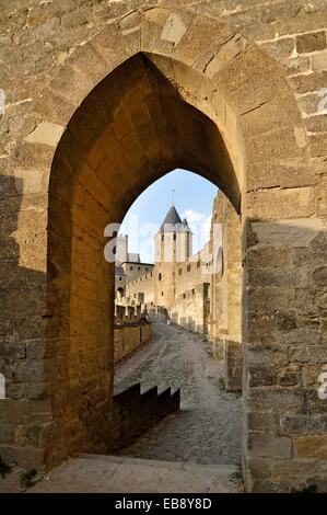 Medieval Walls of Carcassonne, Aude, Languedoc-Roussillon, France, Europe - Stock Photo