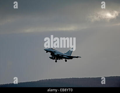 Eurofighter Typhoon FRG4 Military Fast Jet Fighter returning to base at RAF Lossiemouth.  SCO 9236 - Stock Photo