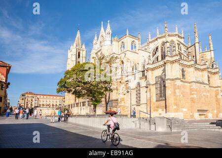 Cathedral of Leon, Way of St. James, Leon, Spain - Stock Photo
