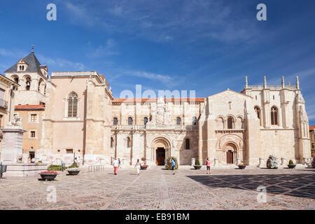 Real Colegiata de San Isidoro in Leon, Way of St. James, Leon, Spain - Stock Photo