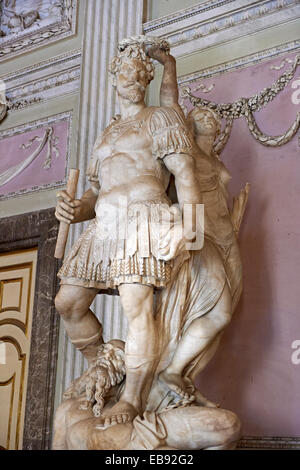 '''''The Room of the Bodyguards'' - The statue of Alessandro Farnese dressed as a Roman commander being crowned - Stock Photo