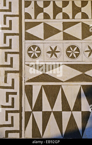 Xysta on the houses of Pygri geometic patterned decorations in black and white that adorn the houses of the Mastic - Stock Photo