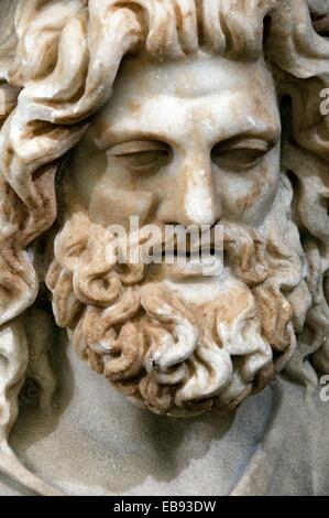 Marble statue of Zeus-Serapis - God created by the Greek Pharaoh Ptolemy I to be the official God of Egypt and Greece - Stock Photo
