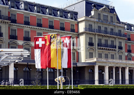 Palais Wilson presentable building facing Lake Geneva was headquarters the League Nations currently headquarters - Stock Photo