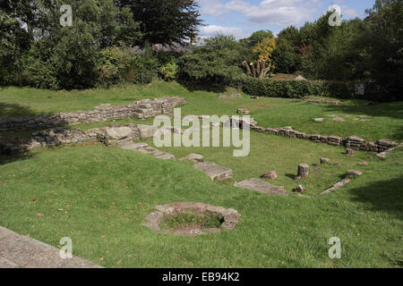 Sunny view foundations of Roman Bath House (warm room, hot room, changing room, furnace room), Ribchester, Lancashire, - Stock Photo