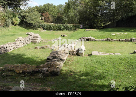 Sunny view foundations of Roman Bath House (furnace room, warm room, hot room, changing room), Ribchester, Lancashire, - Stock Photo