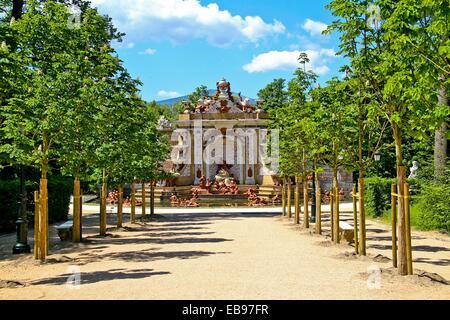 Fountain at La Granja de San Ildefonso, Palacio Real, Segovia, Spain - Stock Photo