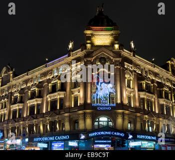 europe, UK, England, London, Leicester Square Hippodrome night - Stock Photo