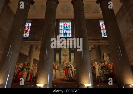 One of the murals with stain glass windows at the George Washington Masonic National Memo - Stock Photo