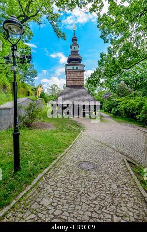 The wooden church consecrated to St. Michael is situated in the upper part of Kinskeho garden on Petrin Hill - Stock Photo