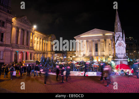 The Frankfurt Christmas Market infront of the Art Gallery and Town Hall, Chamberlain Square, Birmingham, West Midlands, - Stock Photo