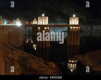 Penstock Towers on the Upstream Side of the Concrete arch-gravity Hoover Dam - Stock Photo
