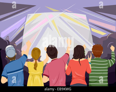 Back View Illustration Featuring the Audience of a Concert Cheering from Below - Stock Photo