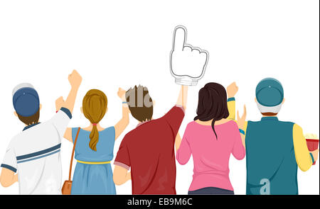 Illustration Featuring a Group of Sports Fans Cheering for Their Team - Stock Photo
