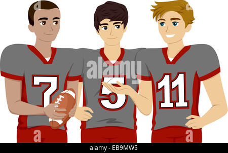 Illustration Featuring a Group of Male Teens Wearing Football Uniform - Stock Photo