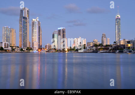 Surfers Paradise skyline at dusk in Gold Coast Queensland, Australia. - Stock Photo