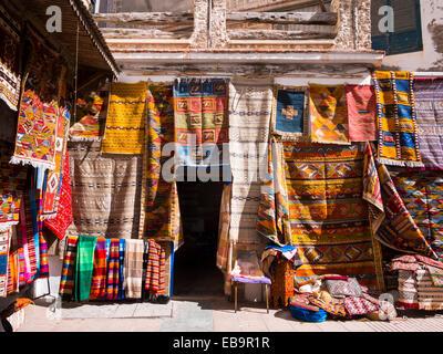 Carpet dealers in the historic centre, Unesco World Heritage Site, Essaouira, Morocco - Stock Photo