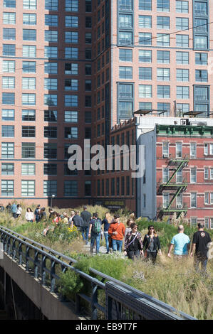 Group of people walking along the High Line, New York City, USA - Stock Photo