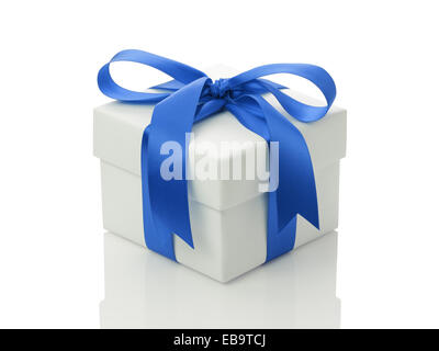 white gift box with blue ribbon bow, isolated on white - Stock Photo