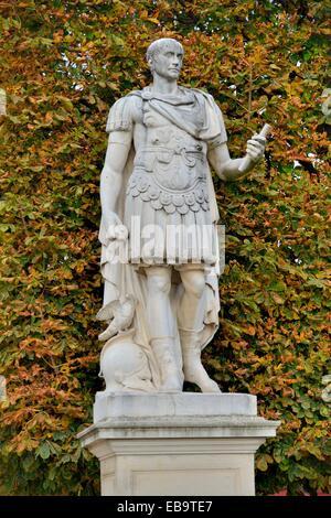 Statue of Gaius Julius Caesar, Roman Emperor, in the Jardin des Tuileries, Tuileries Garden, Paris, France - Stock Photo