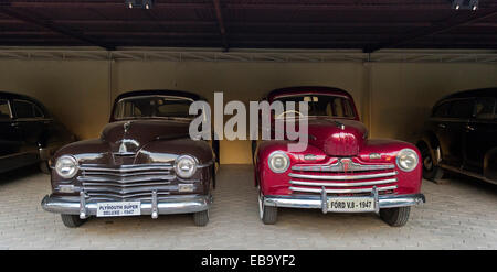 Vintage Plymouth Super Deluxe 1947 and Ford V8 1947, Jodhpur, Rajasthan, India - Stock Photo