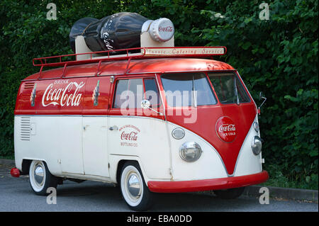 Volkswagen Type 2, VW Bus T1, Bulli, built in 1950, with advertisements for Coca-Cola, Landshut, Lower Bavaria, - Stock Photo