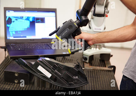 MCAx measuring arm. Coordinate measuring machine portable with escanner for contactless measurement. Measurement - Stock Photo