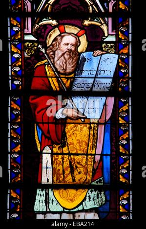 19th century stained-glass window depicting Moses with the Tablets of the Law, at Notre Dame church, Sainte-Foy-la-Grande,