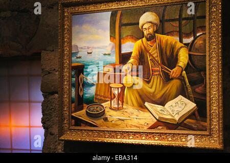 At the Piri Reis Museum (full name Haci Ahmed Muhiddin Piri - Hadji Ahmed Muhiddin Piri, Ahmet ibn-i el-Haç Mehmet - Stock Photo
