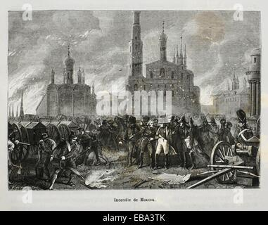 France, Russia-History-19th Century - Napoleon watching the fire of Moscow - Stock Photo
