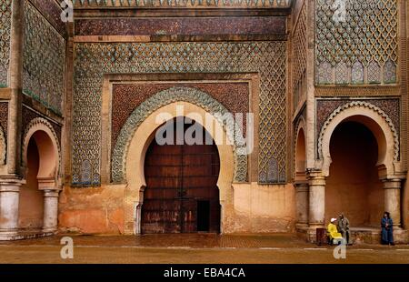 Morocco-Meknes- Bab Mansour gate, named after the architect, El-Mansour. It was completed 5 years after Moulay Ismail's - Stock Photo