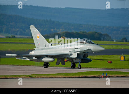Eurofighter Typhoon FRG4 Military Fast Jet Fighter on taxiway at RAF Lossiemouth.  SCO 9243 - Stock Photo