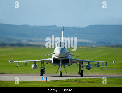 Eurofighter Typhoon FRG4 Military Fast Jet Fighter on taxiway at RAF Lossiemouth.  SCO 9244 - Stock Photo