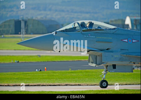 Eurofighter Typhoon FRG4 Military Fast Jet Fighter on taxiway at RAF Lossiemouth.  SCO 9245. - Stock Photo