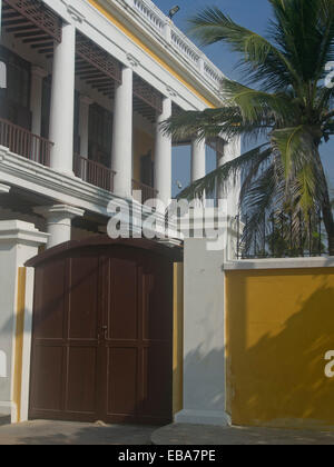French consulate in the union territory of Pondicherry, Tamil Nadu, India - Stock Photo