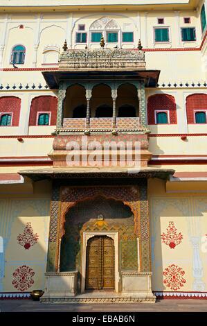 Chandra Mahal Jaipur City Palace Complex Jaipur Rajasthan India. - Stock Photo