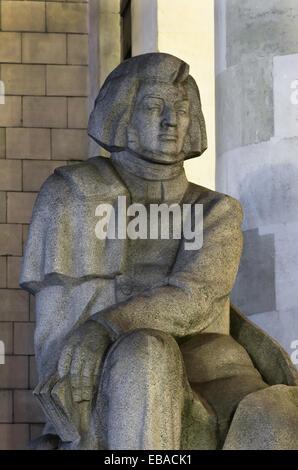 Adam Mickiewicz monument - Warsaw, Poland. - Stock Photo