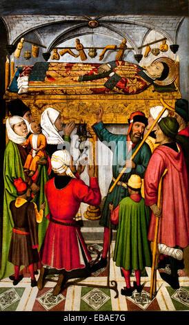 Posthumous Miracles by Saint Vincent ( church of Sant Vicenç de Sarrià ) 1455 Jaume Huguet (1412 – 1492) Spain Spanish - Stock Photo