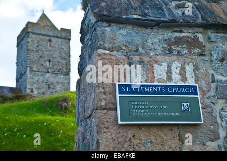 St. Clements Church Tur Chliamain. Rodel Roghadal. South Harris Island. Outer Hebrides. Scotland, UK. - Stock Photo