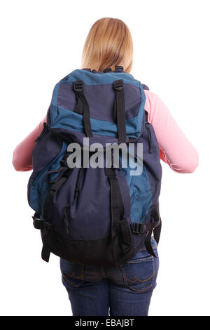 rear view of a female backpacker