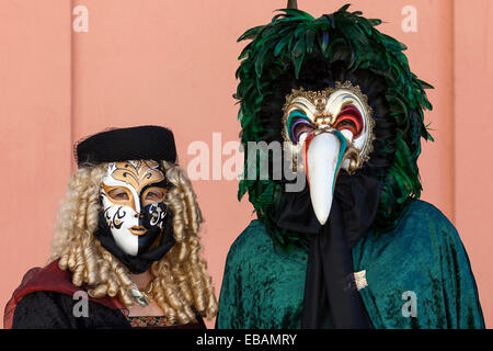 Venetian Carnival masks and costumes at the Venetian Fair, Ludwigsburg, Baden-Württemberg, Germany - Stock Photo