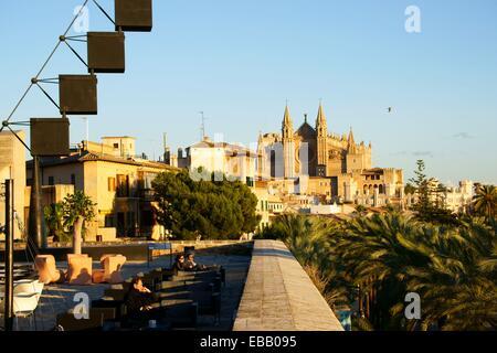 Mallorca Cathedral from the terrace of Baluard, Baluard Museum of Modern and Contemporary Art of Palma, Palma Mallorca - Stock Photo
