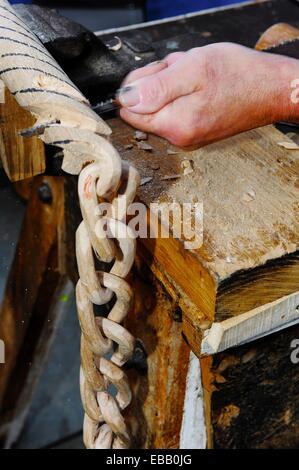 Traditional woodworking demonstration, Artzai Eguna (Day of the Shepherd), Legazpi, Gipuzkoa, Basque Country, Spain - Stock Photo