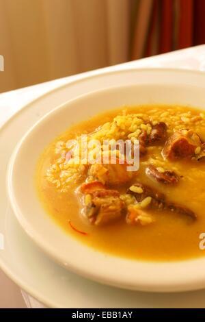 Arròs brut, Restaurant Can Tronca Spain Baleares Mallorca Sant Joan - Stock Photo