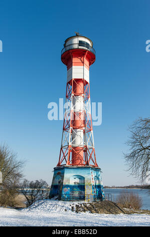 Wittenbergen lighthouse on the Elbe river in winter, Rissen, Hamburg, Hamburg, Germany - Stock Photo