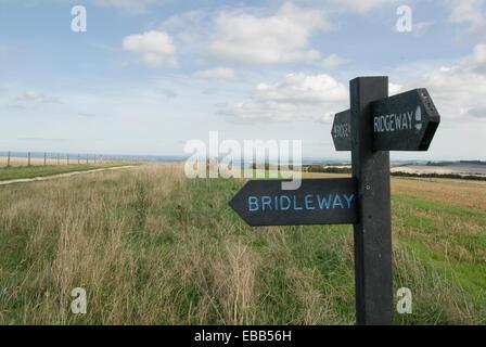 Ridgeway bridleway sign post on ridge way near Uffignton Wiltshire England - Stock Photo