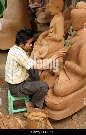 Lost-wax casting open air worshop  Amarapura city  Mandalay Division  Burma  Republic of the Union of Myanmar. - Stock Photo