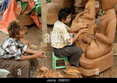 Lost-wax casting open air worshop  Amarapura city  Mandalay Division  Burma  Republic of the Union of Myanmar. - Stock Photo