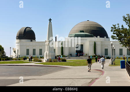 Los Angeles, California, USA - July 29, 2012: A view of the Griffith Observatory entrance with the Astronomers Monument - Stock Photo